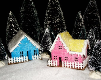 Putz House Kit Set of 6 Buildings - Glitter Houses - DIY - Precut Chipboard Miniature Village -