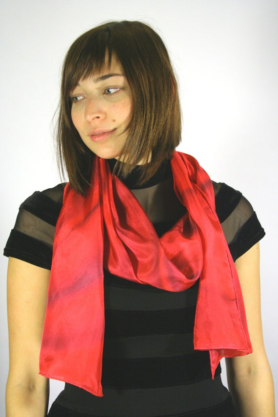 Red Scarf in red and cranberry , hand painted silk scarf. Red scarf . Silkiness