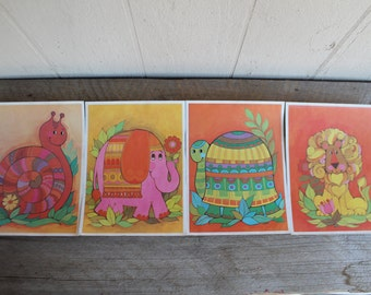 Vintage Nursery Prints, Colorful Animals