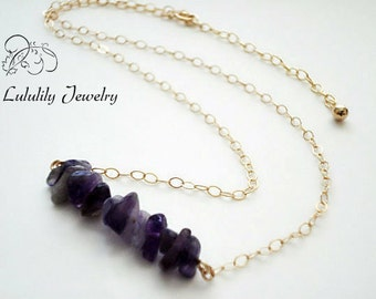 16 inch Necklace, Amethyst Necklace, February Birthstone, Bar Necklace, Purple Necklace, Petite Necklace