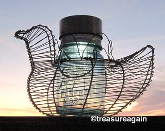 Chicken Mason Jar Solar Light Vintage Blue Ball Jar Solar Lamp Chicken Basket, Garden Decor Upcycled Lighting