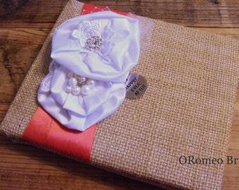Rustic Burlap Silk and Pearl Wedding Guest Book