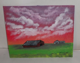 Storm Cloud Painting - Acrylic Painting - Barn and Farmhouse - Stormy Red Sky - 11 x 14 Painting - Before The Storm Acrylic Painting