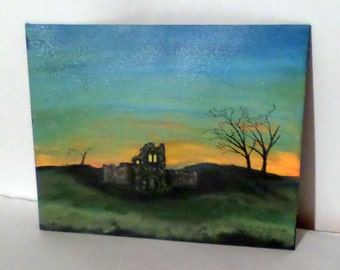 The Ruins Acrylic Painting - Desolate Ruins - Sunset Ruins - Haunted Castle Ruins - 11 x14  Acrylic Painting - Orange Sunset - Ready To Hang