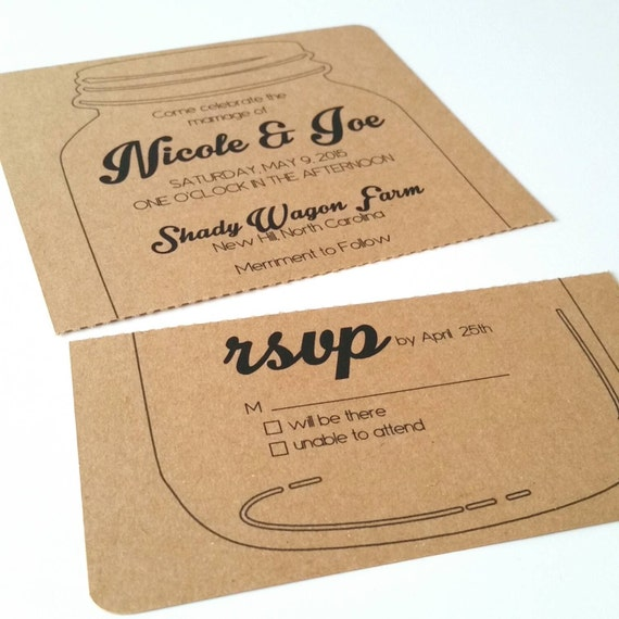 5 X 7 Perforated Mason Jar Wedding Invitation Sample