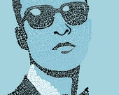 NEW Justin Timberlake Psychedelic Hand-illustrated Type 9'' x 12'' Poster (unframed)