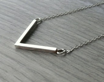 Silver chevron necklace Layering necklace Sterling silver necklace layer necklace silver V necklace geometric necklace long chevron