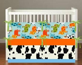 Cow Crib Bedding - Cow Print Nursery Decor 3 Piece Set bumper, skirt, sheet, - Choose Your fabrics