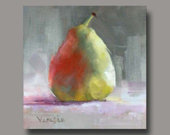 Fine Art Canvas Painting - Oil Painting Still Life with Pear - Original Painting Canvas Art by Carrie Venezia - Red, Green, Grey