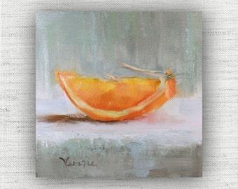 Orange Slice - Art Print of Painting - Large Wall Art Print on Wood Block