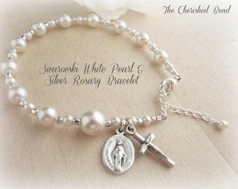 Beautiful Swarovski White Pearl & Silver Rosary Bracelet - Traditonal - Rosary