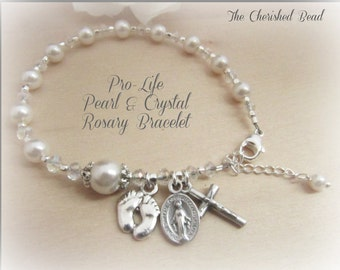 Pro-Life Pearl and Crystal Catholic Rosary Bracelet - Pray for the Unborn