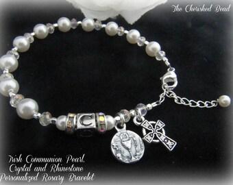 Irish Communion Personalized Rosary Bracelet with Communion Chalice Charm