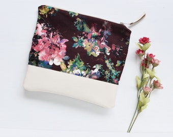 Flora Leather Clutch, Foldover Clutch, Ivory White Leather, Brown Pink Floral, Handbag, Bridesmaid Gift