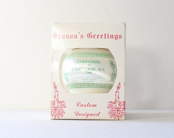 Vintage 80s Christmas in Lakewood NY Ornament - 1988 with Box  - Seasons Greetings, Hometown Designs