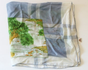Vintage 70s Silk Scarf - Triangle Brand - Pure Silk, Hand Printed - Asian Scene, Chinese