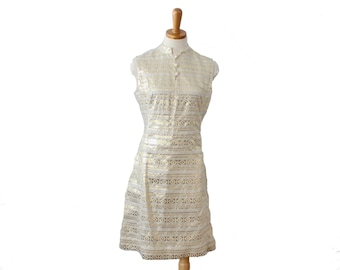 Vintage 60s Ivory and Gold L'Aiglon Party Dress  - Women S M - Greek Letter Pattern