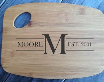 Personalized laser engraved bamboo cutting board wedding gift handmade name monogram