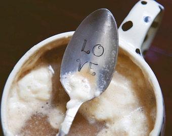 LOVE - Hand Stamped Vintage Coffee Spoon