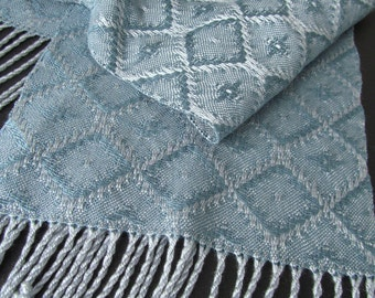 Blue Handwoven Women's Scarf in Tencel and Rayon