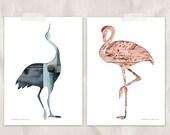 bird silhouette in pink and blue, bird print set, digital silhouette art, set of 2, woodland nursery, whimsical animal art, flamingo heron