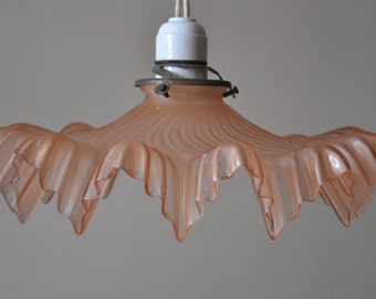 Vintage French Glass Ceiling Light - Frosted Pink and Frilly