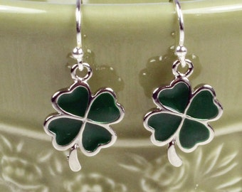 Shamrock Earrings - Green Shamrock Earrings - St. Patrick's Day Earrings - Enamel Earrings  - Irish Earrings