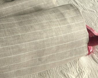 Pure LINEN natural flax Stripe European ecofriendly fabric sewing table linens supplies from MyGypsyCottage on Etsy