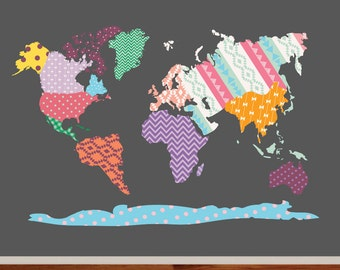 World Map Decal, Nursery Wall Vinyl, World Map Wall Decal - Patterned World Map - Map Vinyl Decals