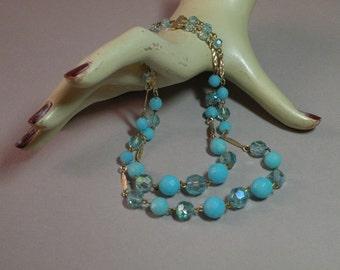 Vintage Aqua Double Strand Necklace
