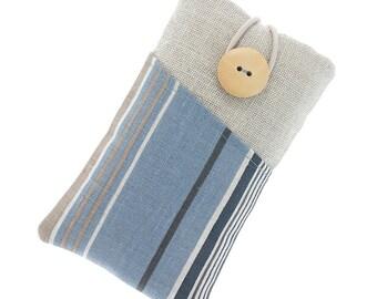 Galaxy Note 3 case, Galaxy Note 4 sleeve, striped Galaxy Note 5 case, Galaxy S7 sleeve, Galaxy S7 Edge pouch, blue brown beige stripes