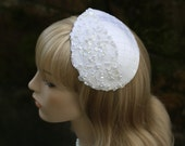 White Fascinator Bridal Millinery Hat Wedding Hair Piece with Beaded Lace