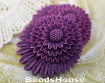 30% Off  364-CA  2pcs Beautiful Chrysanthemum Cabochon - Purple