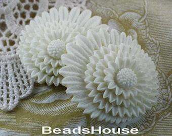 30% Off  364-CA  2pcs Beautiful Chrysanthemum Cabochon - white