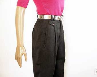 Vintage 1980s Slacks High Waist Pleat Front Charcoal Gray Trousers Pants / Small