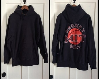 Vintage 1980s Champion Reverse Weave Hooded Sweatshirt size XL Black MIT Basketball Print