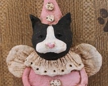 Black and White Cat Angel, OOAK, hand-sculpted from papier mache, Cat Clown Angel
