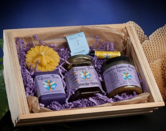 Lavender Honey Gift basket with floating candle by Queen Bee Honey Products