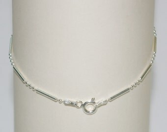 9 inch Sterling Silver 925 Ball and Bar ANKLET - Real Solid Silver - Free Shipping Worldwide