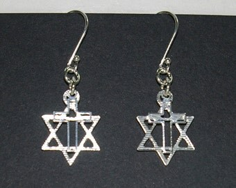 6 pairs Messianic Star of David and Cross Two Charms EARRINGS Lot - Real Sterling Silver 925 - Free Shipping Worldwide