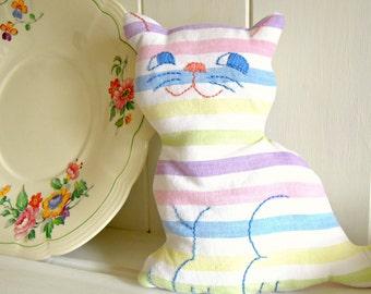 Cute Retro Kitten Softie Candy Stripe Pastels 17 cm tall