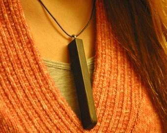 upcycled ebony piano key, reclaimed pendant necklace