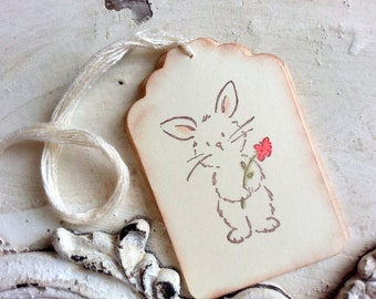 Bunny Tags, Easter Tag, Rabbit, Set of 6