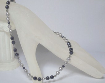 Deep purple & Silver Hand-Knotted Swarovski Pearl Necklace