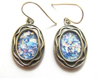 925 Sterling Silver Roman Glass  Earrings