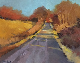 "Original Oil Landscape painting-  Sunny Roadside -   9"" x 12"""