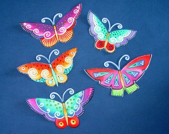 Set of 5 Gorgeous Butterfly Appliques*Handmade*Laurel Burch fabric/Y
