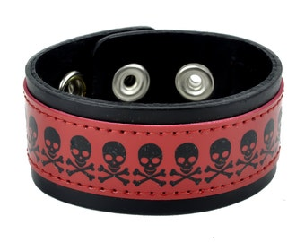 "Red Skull & Crossbones Black Leather Wristband Cuff Bracelet 1-1/4"" Wide"