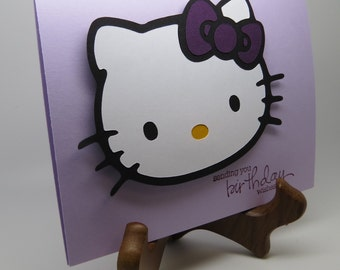 purple kitty birthday greeting card