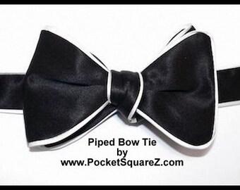 Custom Designed Piped Black  Bow Ties